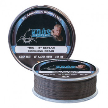 Поводочный шнур на сома KOOS Rig-It Kevlar Hooklink Braid 1,0 мм 10 м 130 кг