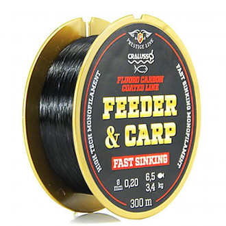 Леска Cralusso Feeder&Carp Fluoro Carbon Coated Fast Sinking 0,20mm 300m 3,40kg